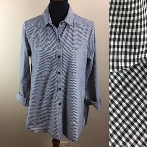Staples gingham lagenlook button front blouse